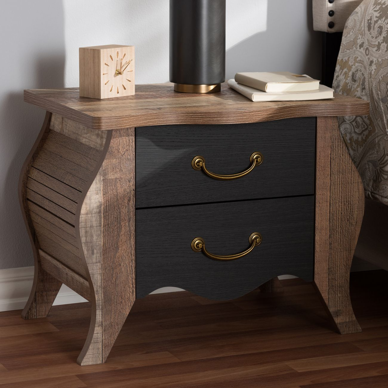 Baxton Studio Romilly Country Cottage Farmhouse Black Oak Finished Wood 2 Drawer Nightstand Br990063 Black Oak 2dw Ns