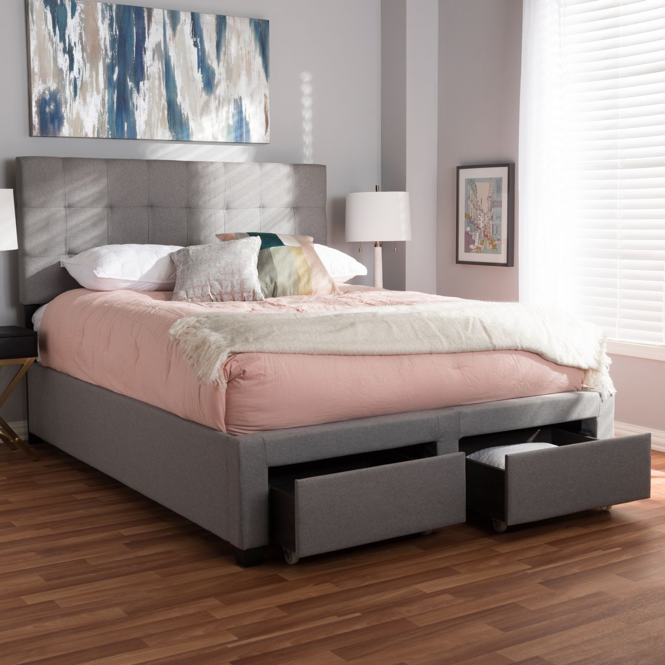 Baxton Studio Tibault Modern Contemporary Grey Fabric Upholstered Queen Size Storage Bed Wa8028 Gray Queen