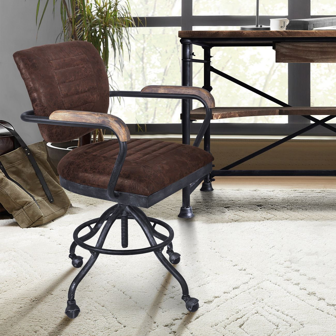 Brice Modern Office Chair In Industrial Grey Finish Brown Fabric W Pine Wood Arms Armen Living Lcbiofsbbr