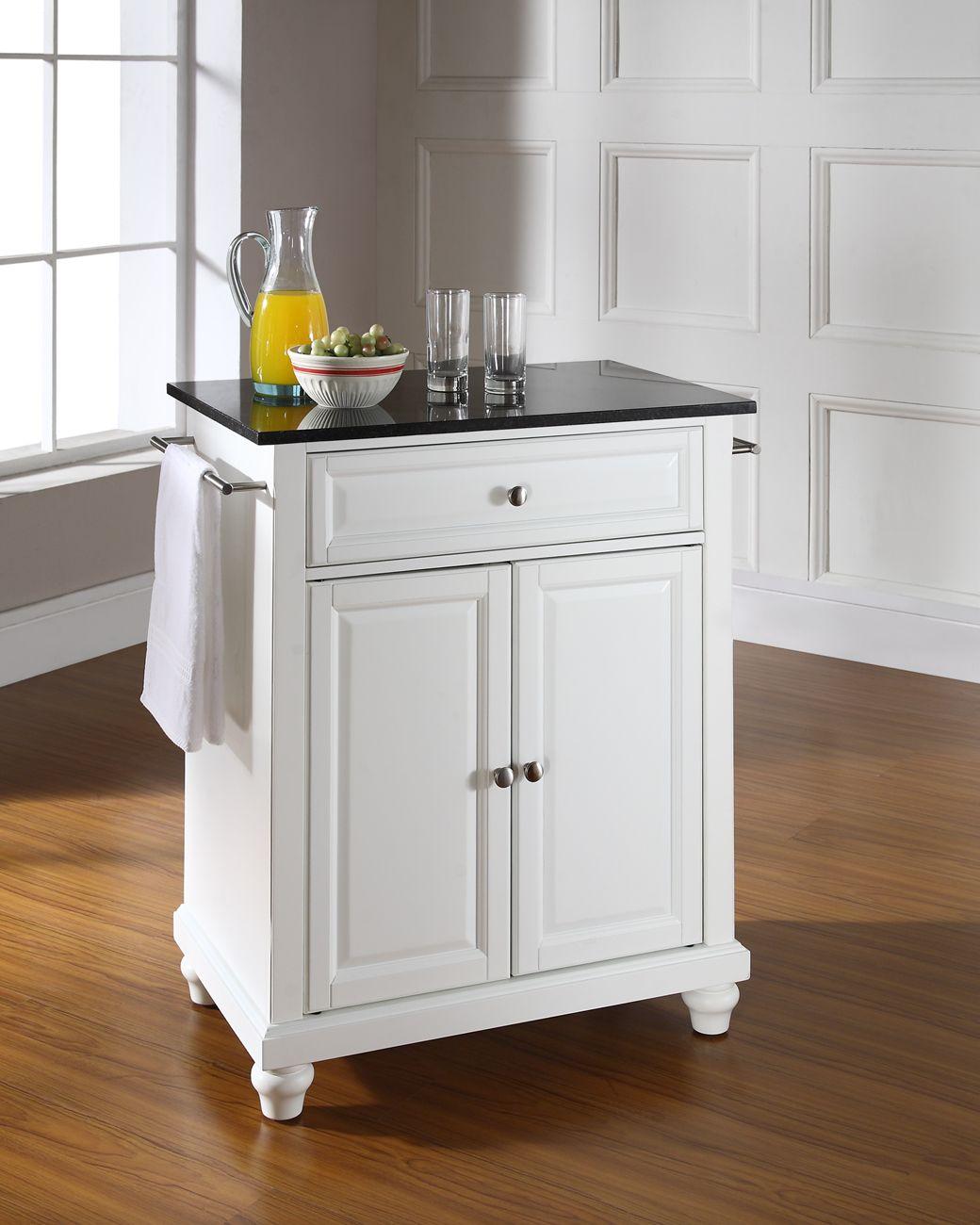 Image of: Cambridge Solid Black Granite Top Portable Kitchen Island In White Finish Crosley Kf30024dwh