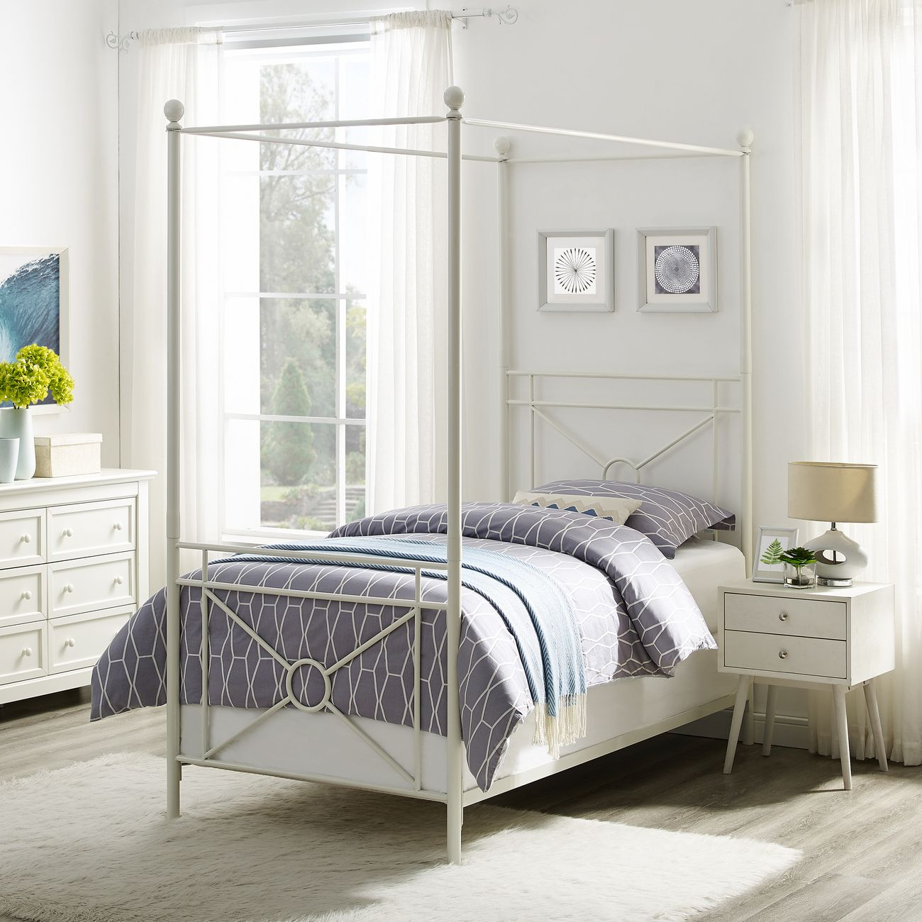 - Montgomery Twin Canopy Bed In White - Crosley KF713002WH