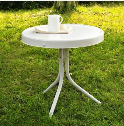 Metal Side Table In Alabaster White