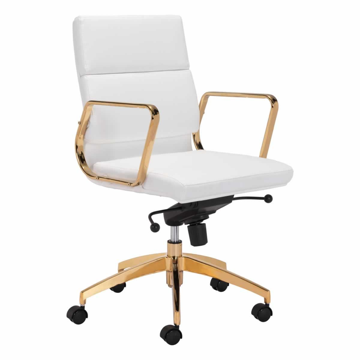 Picture of: Scientist Low Back Office Chair In White Gold Zuo Modern 101018