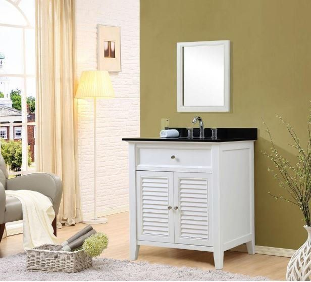 Shutter 32 White Vanity W Black Granite Top Mirror Jj 32s12 Wbk M