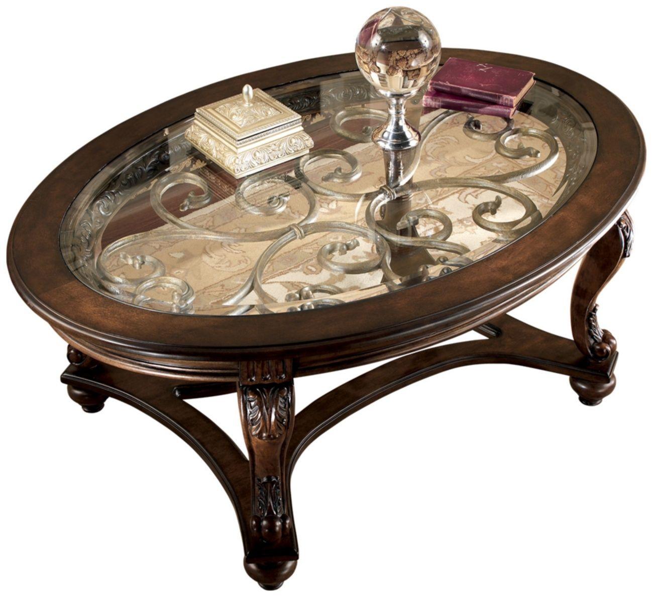 Signature Design Norcastle Oval Cocktail Table Ashley Furniture T499 0