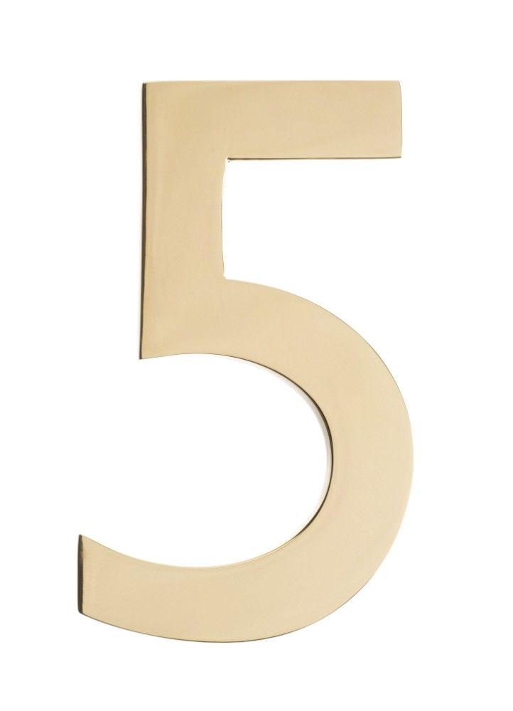 Brass 4 Inch Floating House Number Polished Brass 5 Architectural Mailboxes 3582pb 5