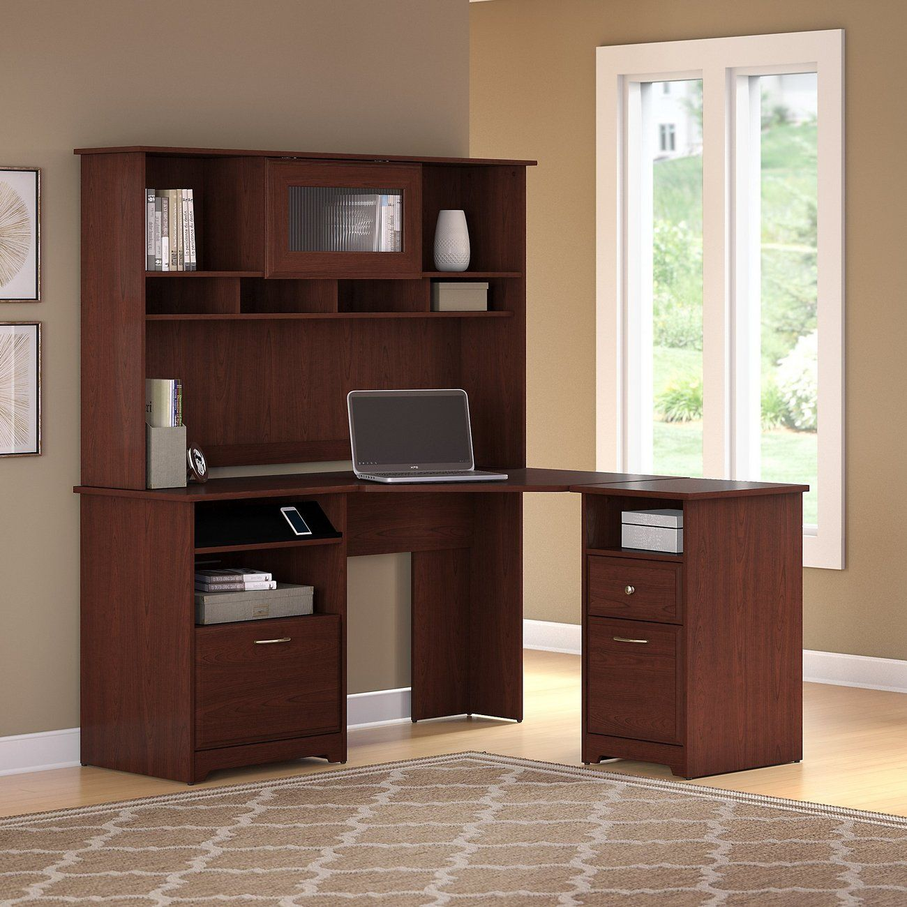 Picture of: Bush Furniture Cabot Lateral File Cabinet In Harvest Cherry Home Office Cabinets