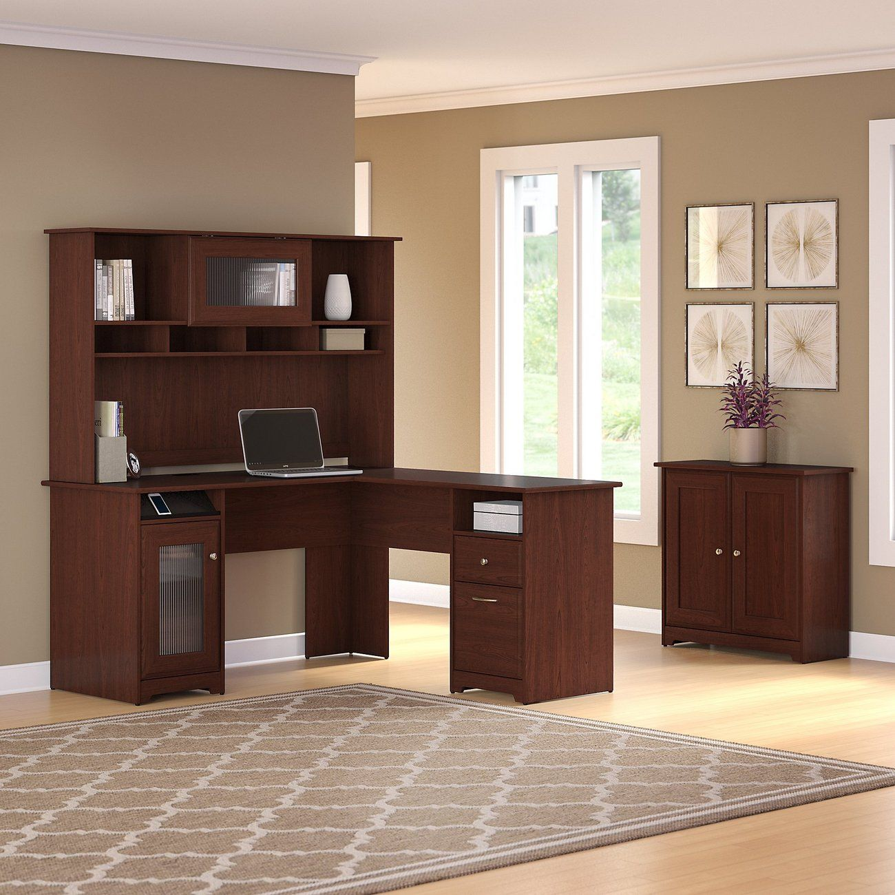 Cabot L Shaped Desk W Hutch Small Storage Cabinet W Doors In