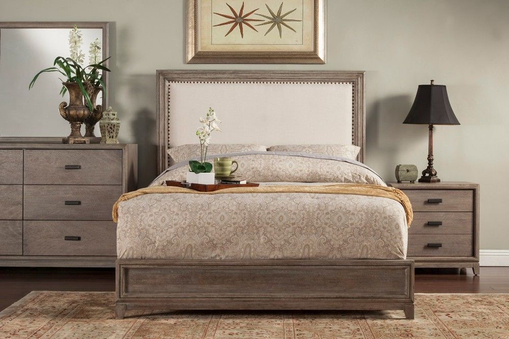 Camilla Queen Panel Bed W Upholstered Headboard Nailheads Alpine Furniture 1800 01q