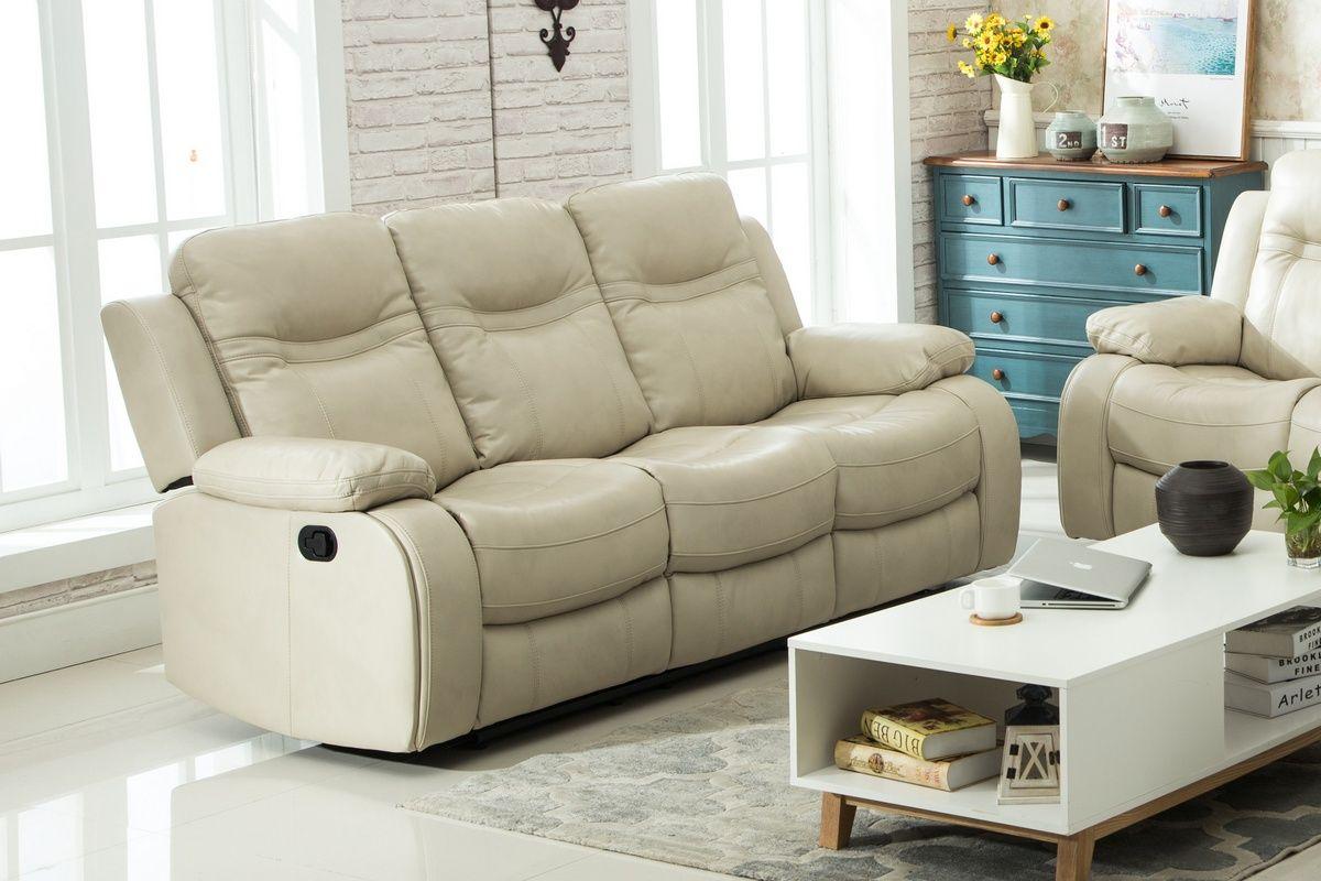 Carlo Recliner Sofa W/ Manual Handle Taupe - Chelsea Home Furniture 648028TE-S-T-RSM