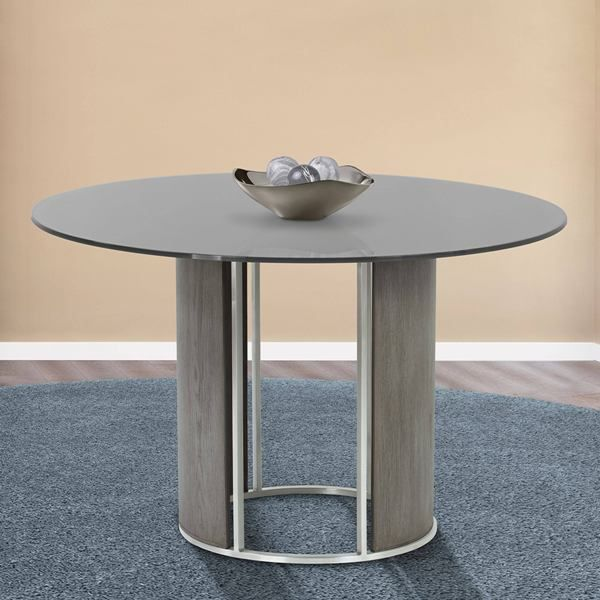 Delano Round Dining Table In Brushed Stainless Steel W Gray Tempered Glass Top Gray Walnut Column Armen Living Lcdltogg