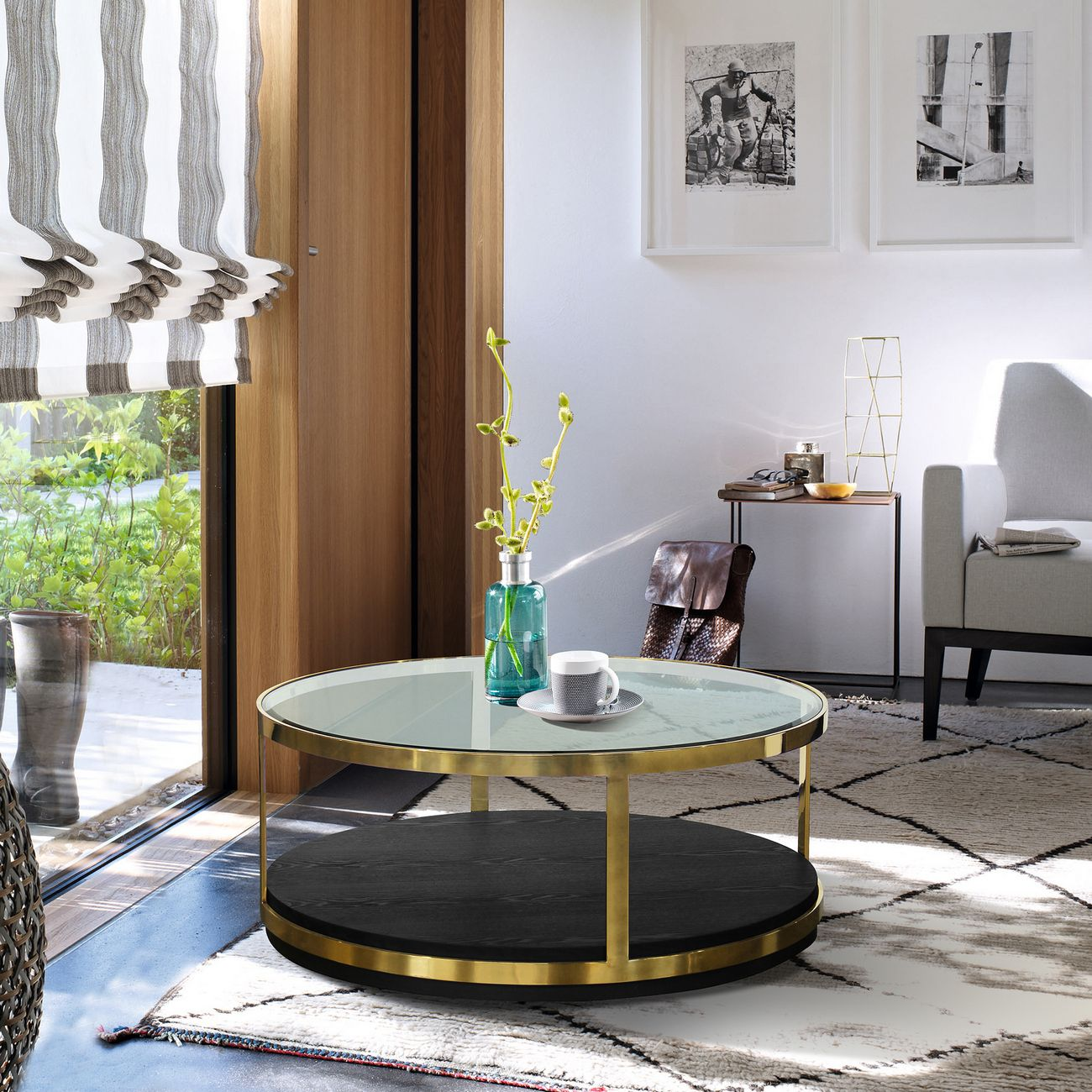 hattie contemporary coffee table in brushed gold finish black wood armen living lchtcobl