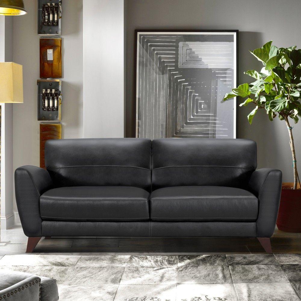 Jedd Contemporary Sofa In Genuine Black Leather W/ Brown Wood Legs - Armen Living LCJD3BL