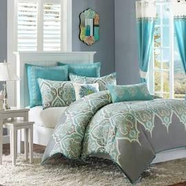 Madison Park Nisha King/Cal King Comforter Set in Teal   Olliix