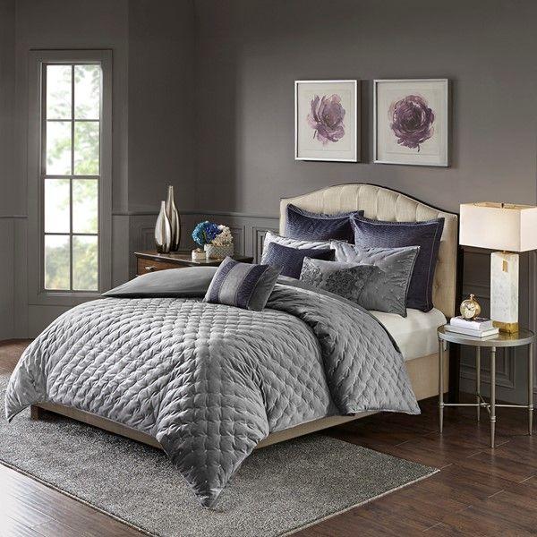 Dark Gray MADISON PARK SIGNATURE Plateau 9 Piece Luxurious Jacquard Bedding Comforter Set for Bedroom King Size