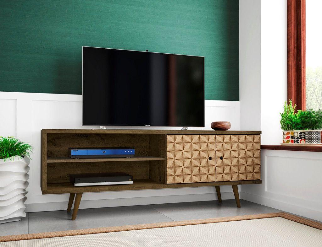 Manhattan Comfort 201amc97 Liberty 62 99 Mid Century Modern Tv Stand W 3 Shelves 2 Doors In Rustic Brown 3d Brown Prints