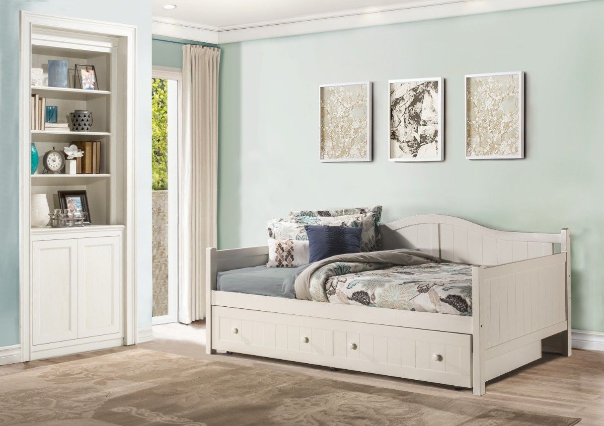 - Staci Full Size Daybed In White W/ Trundle - Hillsdale 1525FDBT
