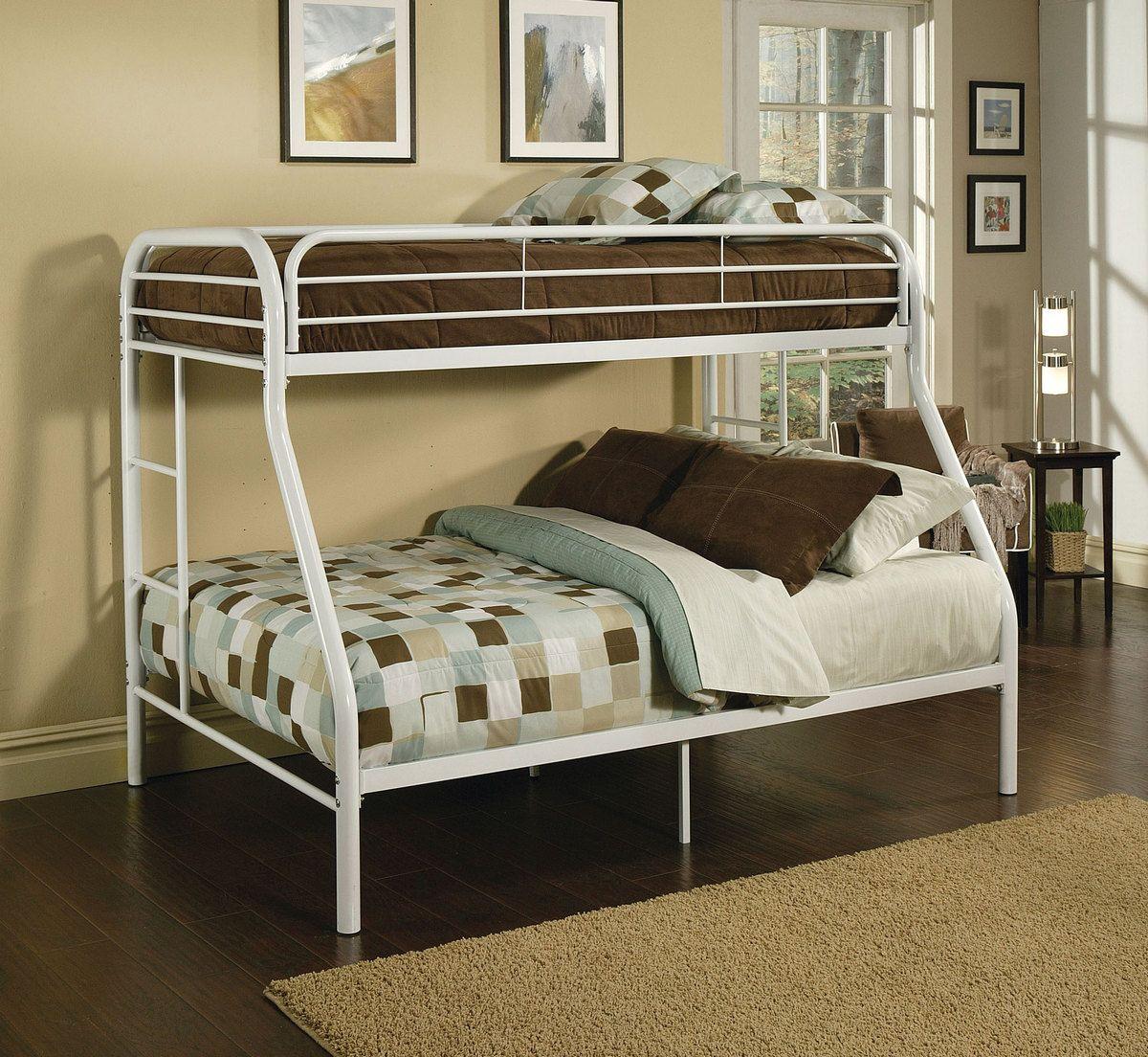 Tritan Twin Full Bunk Bed In White