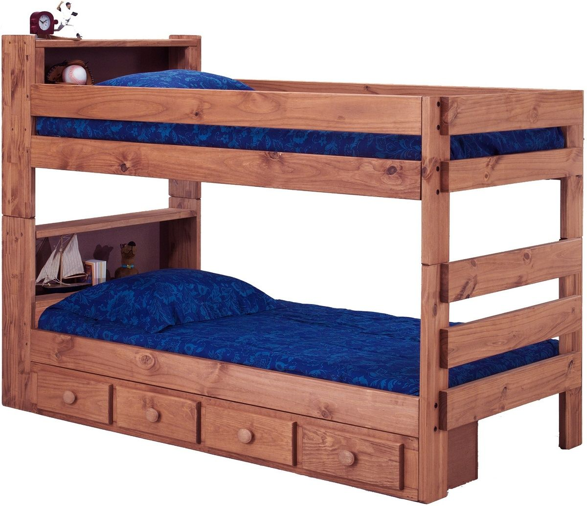 Twin Over Bookcase Bunk Bed W Storage Mahogany Stain Chelsea Home Furniture 312004 415 S
