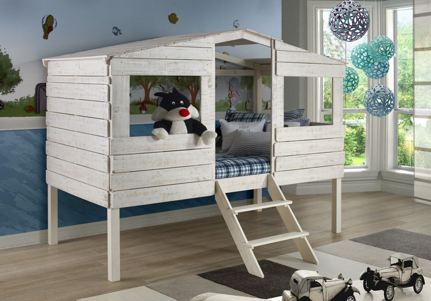 Twin Tree House Low Loft Bed In Rustic Sand Donco 1380tlrs