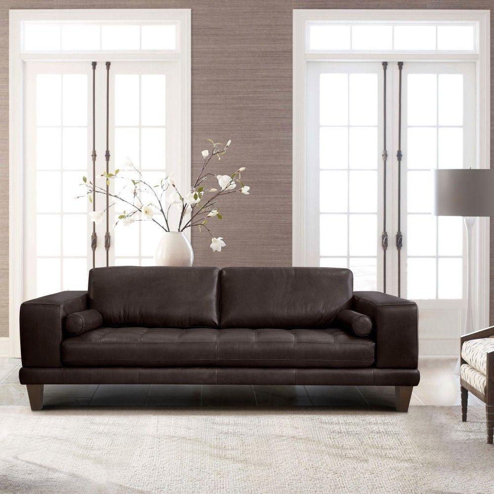 Wynne Contemporary Sofa In Genuine Espresso Leather W/ Brown Wood Legs - Armen Living LCWY3BROWN
