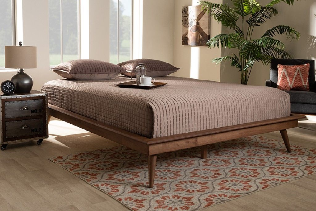 Image of: Baxton Studio Karine Mid Century Modern Walnut Brown Finished Wood Queen Size Platform Bed Frame Mg0004 Ash Walnut Queen Frame