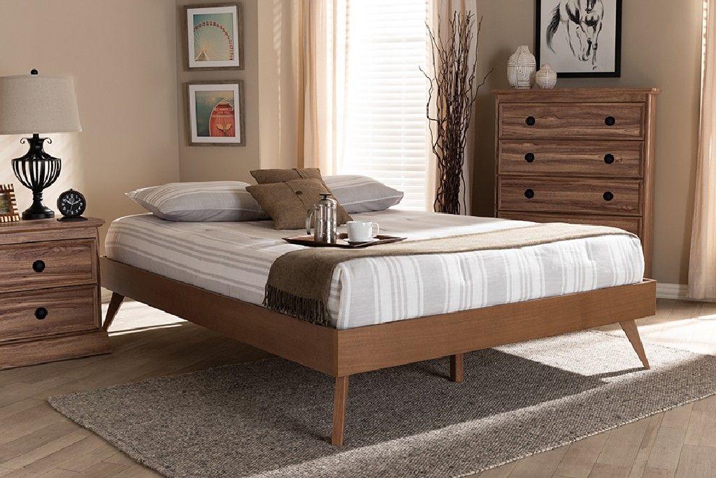 Baxton Studio Lissette Mid Century Modern Walnut Brown Finished Wood King Size Platform Bed Frame Mg9704 Ash Walnut Bed Frame King