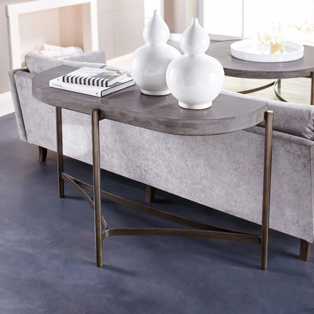 Picture of: Lyon Semi Circular Concrete Metal Console Table Modus A89423