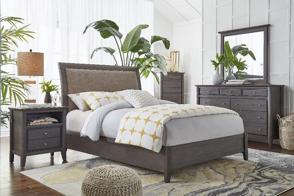 City Ii Full Size Upholstered Sleigh Bed In Basalt Gray Modus 1x57l4d