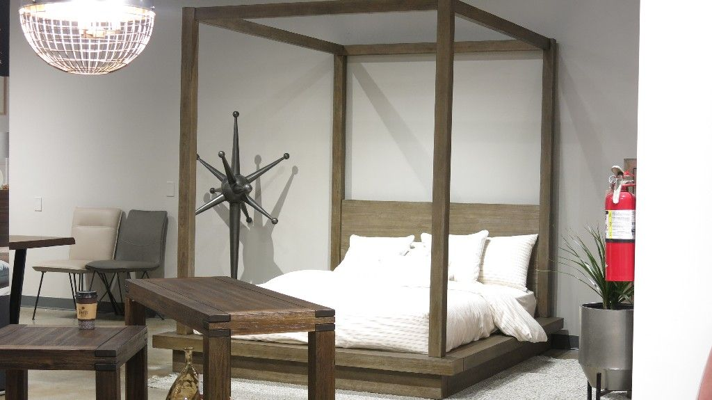 Melbourne King Size Canopy Bed In Dark Pine Modus 8d64f7