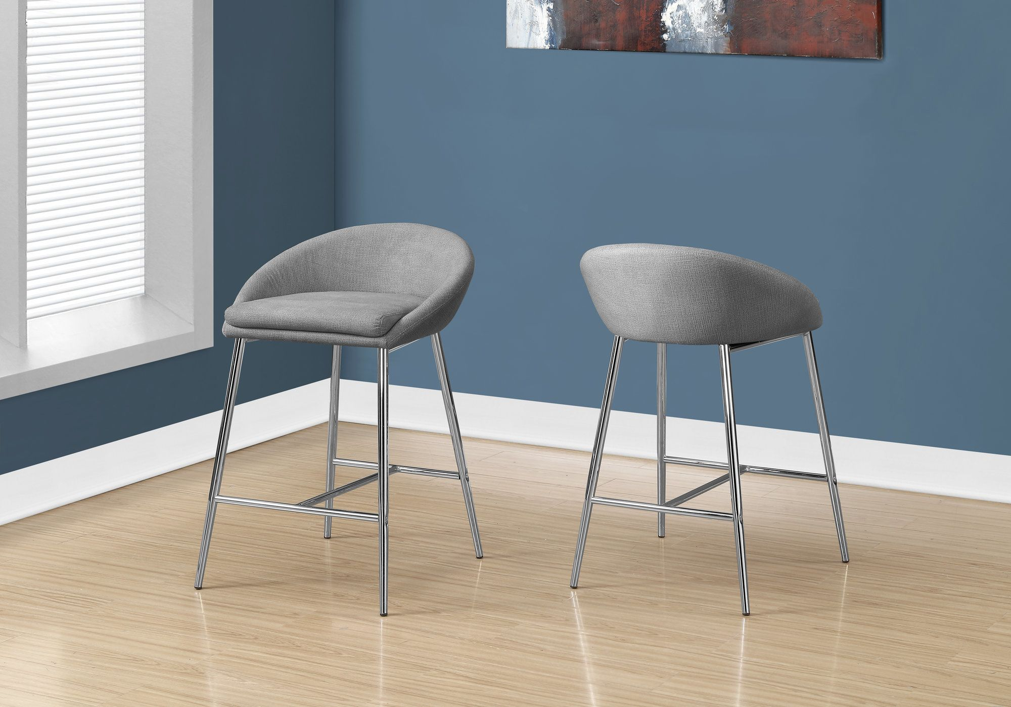 Picture of: Barstool 2pcs Grey Fabric Chrome Counter Height Monarch Specialties I 2298