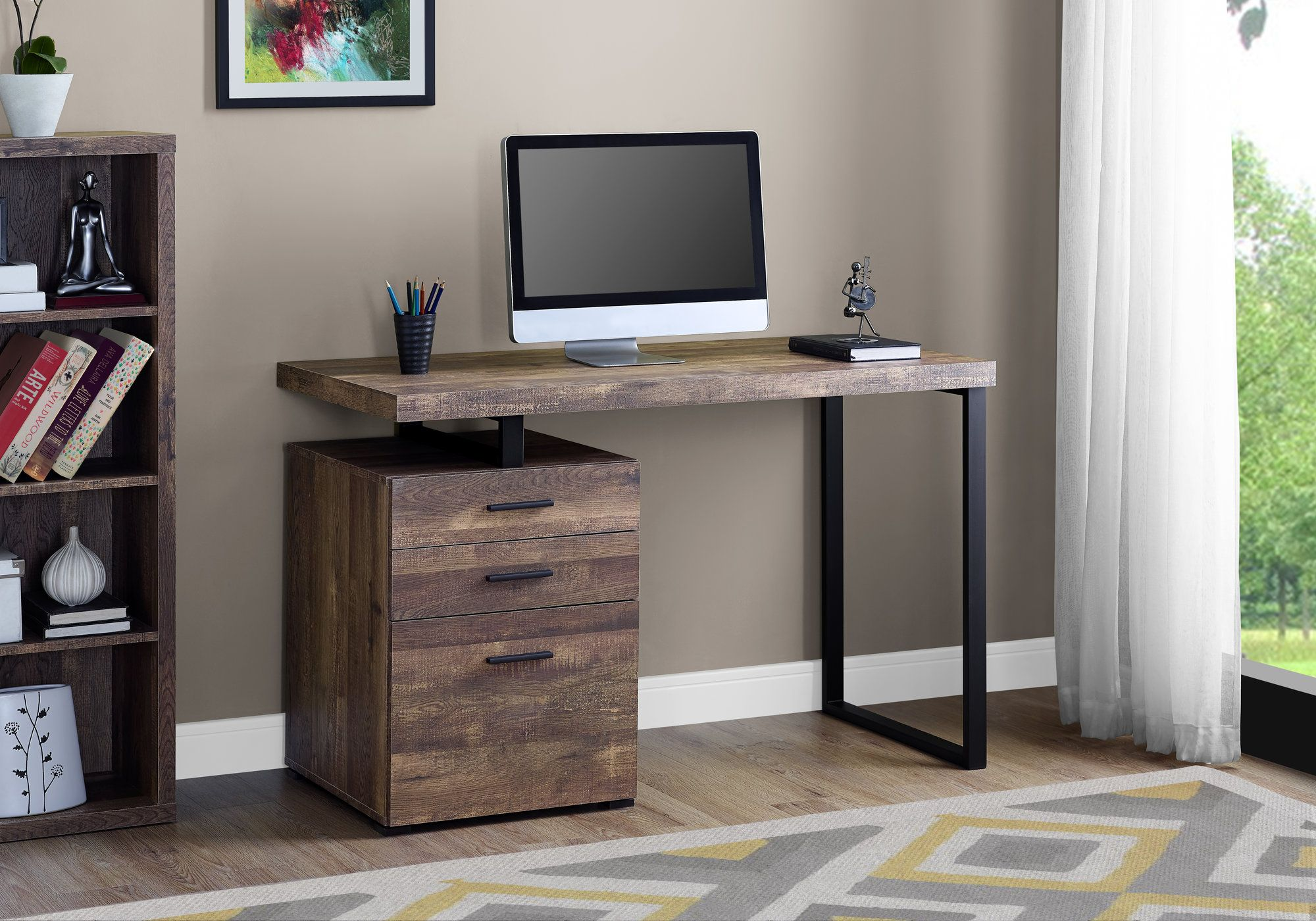 Computer Desk 48 L Brown Wood Grain Black Metal Monarch Specialties I 7408