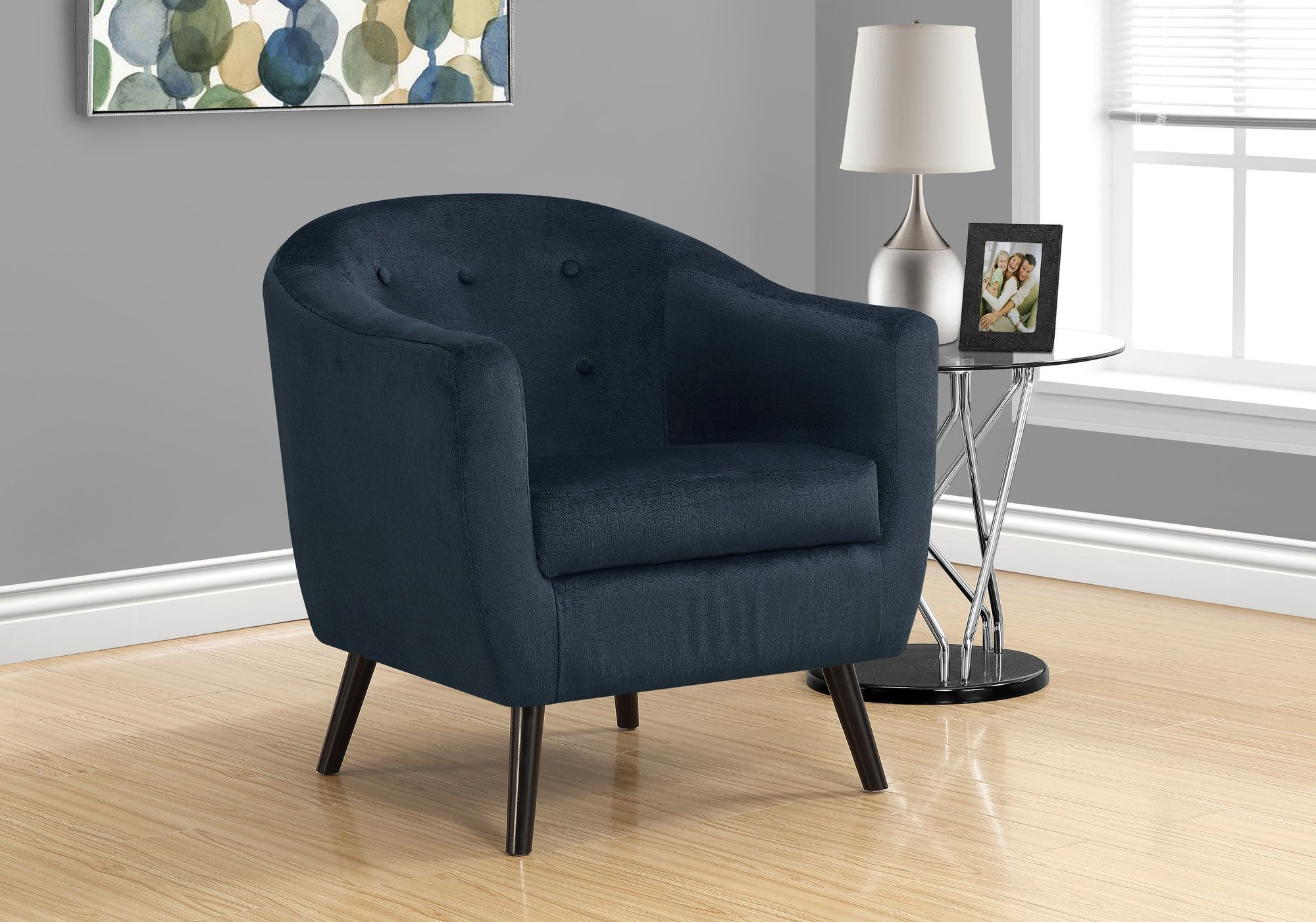 Picture of: Accent Chair In Dark Blue Mosaic Velvet Monarch Specialties I 8254