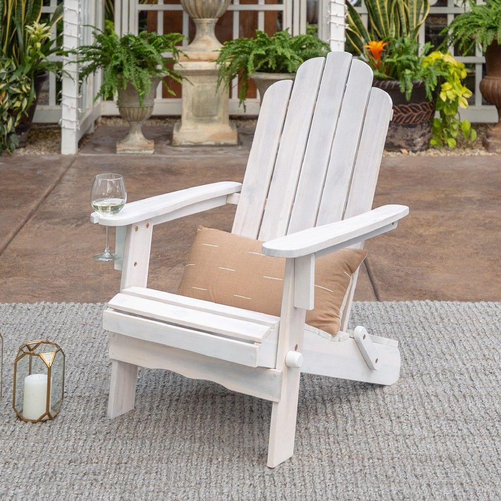Heavy Duty Sun Lounger, Patio Wood Adirondack Chair In White Wash Walker Edison Owackdww