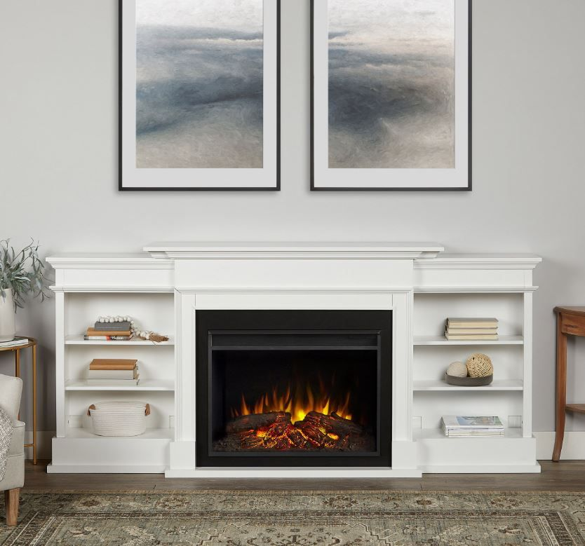 Ashton Grand Media Electric Fireplace In White Real Flame 7190e W