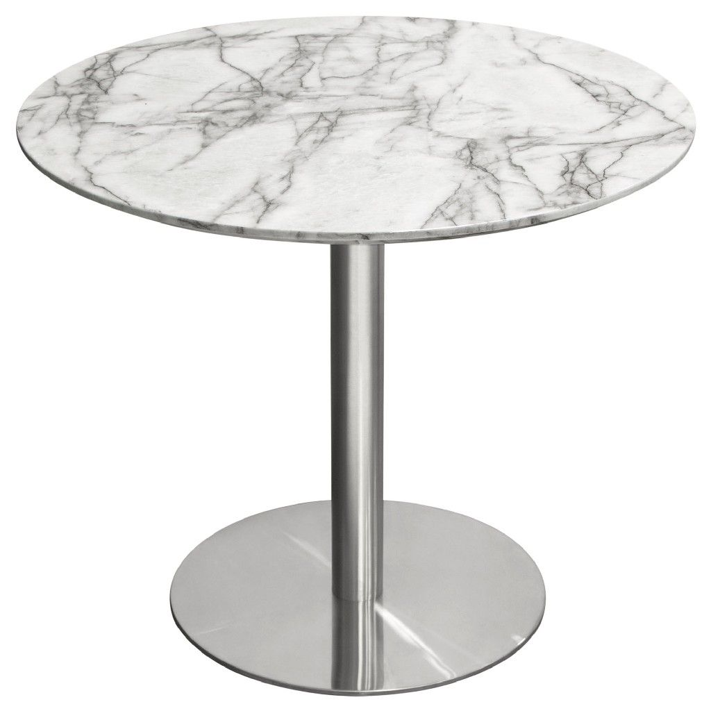 Picture of: Stella 36 Round Dining Table W Faux Marble Top And Brushed Silver Metal Base Diamond Sofa Stelladtmasl