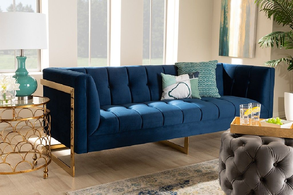 Picture of: Baxton Studio Ambra Glam Luxe Royal Blue Velvet Fabric Upholstered Button Tufted Gold Sofa W Gold Tone Frame Tsf 5507 Navy Gold Sf
