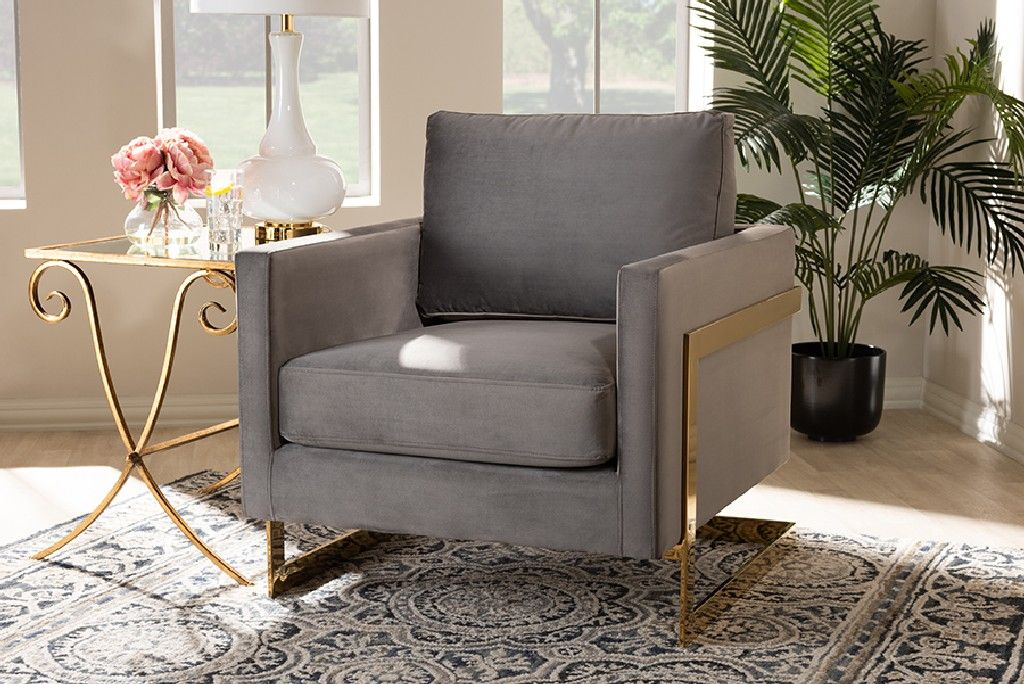 Baxton Studio Matteo Glam Luxe Grey Velvet Fabric Upholstered Gold Finished Armchair Tsf 77241 Grey Gold Cc