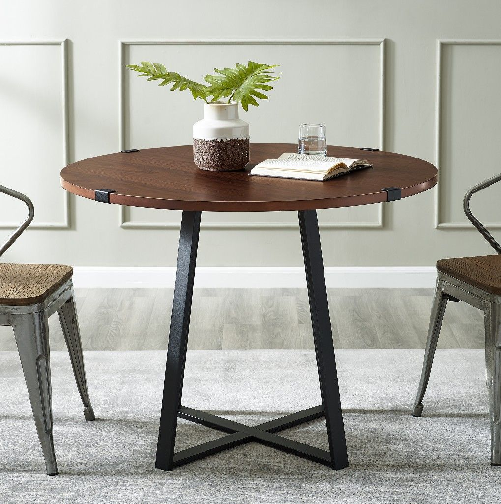40 Urban Industrial Metal Wrap Round Dining Table In Dark Walnut Black Walker Edison Tw40rdwradw