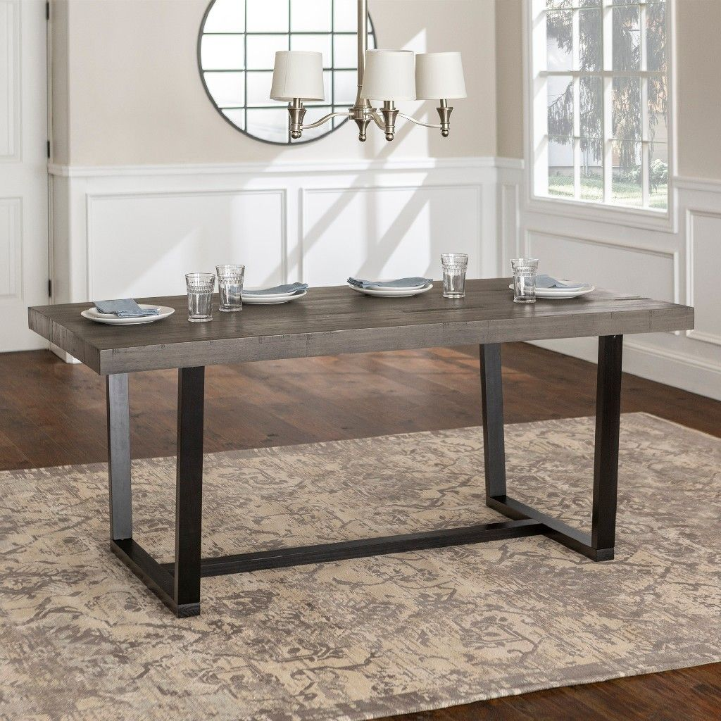 Rustic Solid Wood Dining Table In Grey