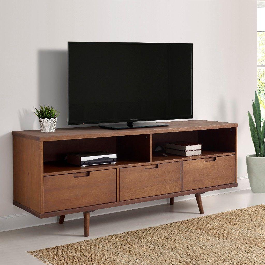 58 3 Drawer Mid Century Modern Tv Stand In Walnut Walker Edison W58iv3dwt