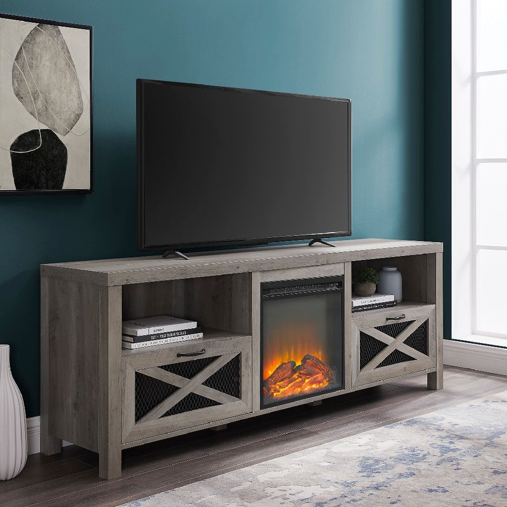 70 Rustic Farmhouse Fireplace Tv Stand In Grey Wash Walker Edison W70fpabgw
