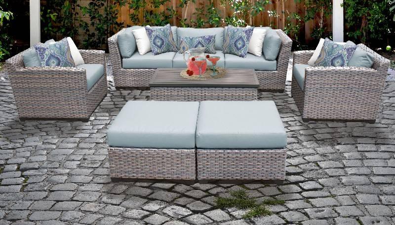 Florence 8 Piece Outdoor Wicker Patio, Grey Wicker Patio Furniture Set