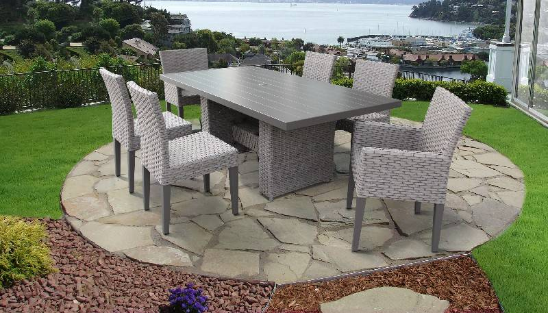 Florence Rectangular Outdoor Patio Dining Table w/ 4 Armless Chairs and 2 Chairs w/ Arms in Grey Stone - TK Classics Florence-Dtrec-Kit-4Adc2Dc