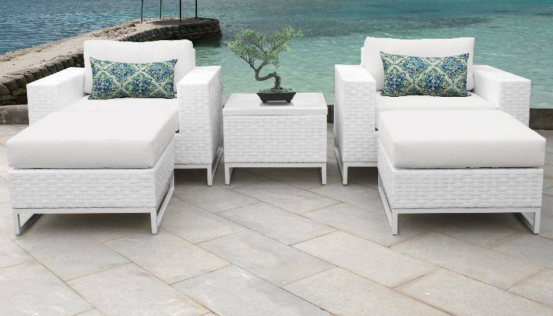 Miami 5 Piece Outdoor Wicker Patio, How To Clean White Wicker Outdoor Furniture