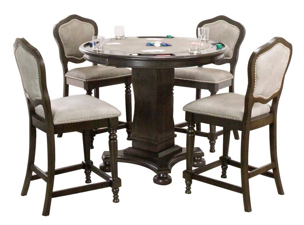 Dining Chess And Table Set, Round Gaming Table With Chairs