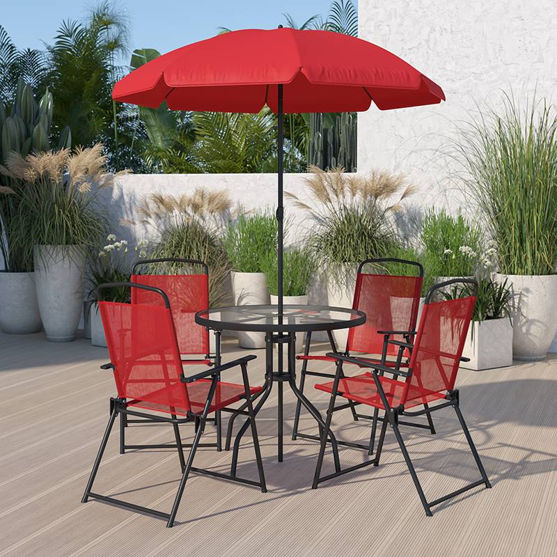 Nantucket 6 Piece Red Patio Garden Set, Red Patio Table Umbrella