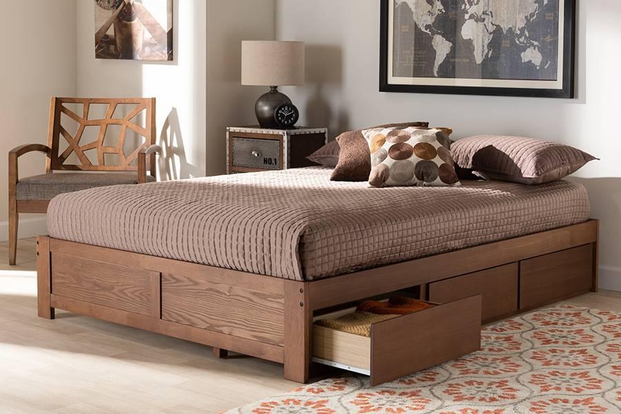 Baxton Studio Wren Modern And, Walnut Storage Bed Queen