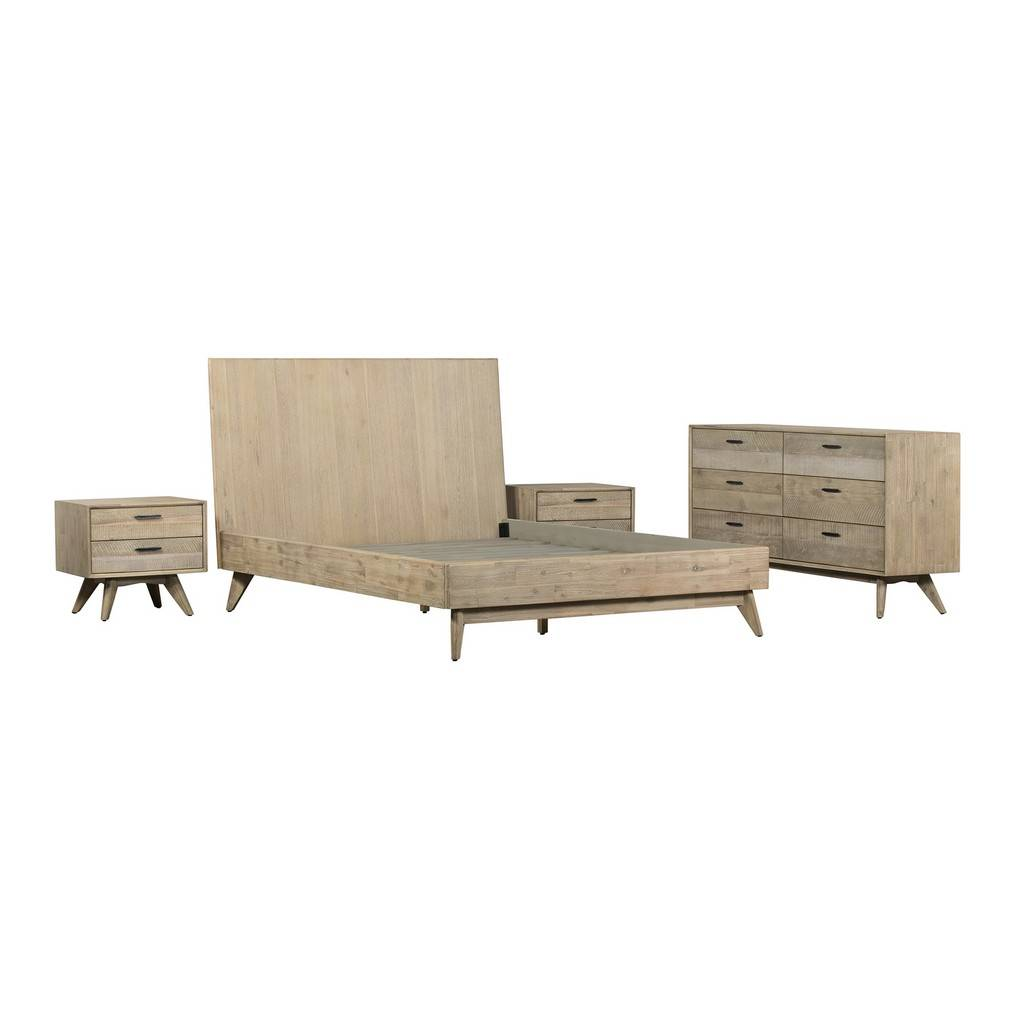 Baly 4 Piece Acacia King Platform Bedroom Set With Dresser And Nightstands Armen Living Setlfbdgrkg4a
