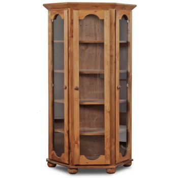 Lancashire Furniture Tall Glass Door Display Cabinet in Truffle Sonoma Oak and White Gloss Colour